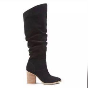 Nine West Abgee Black Suede stacked heel boots 8.5